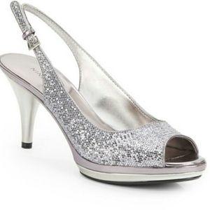 Nine West open toe sling back silver heels